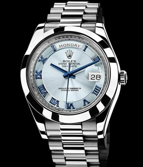 Rolex Replica Watch Oyster Perpetual Day-Date II 218206-83216 Platinum - Blue Dial