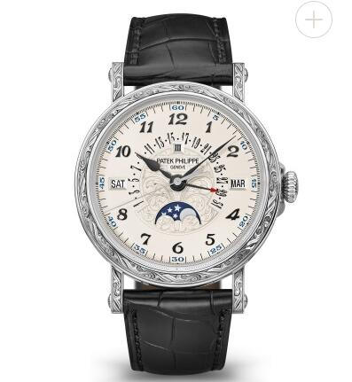 Cheapest Patek Philippe Watch Price Replica Grand Complications Engraved Perpetual Calendar 5160/500G-001