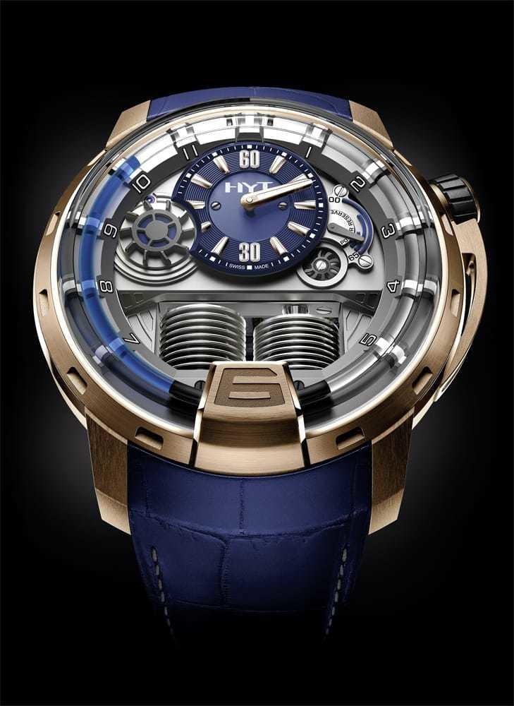 HYT H1 Gold Blue 148-PG-32-BF-AA Replica Watch