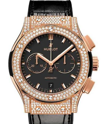 Replica Hublot 541.OX.1181.LR.1704 Classic Fusion Chronograph 18k Rose Gold Full Pave watch