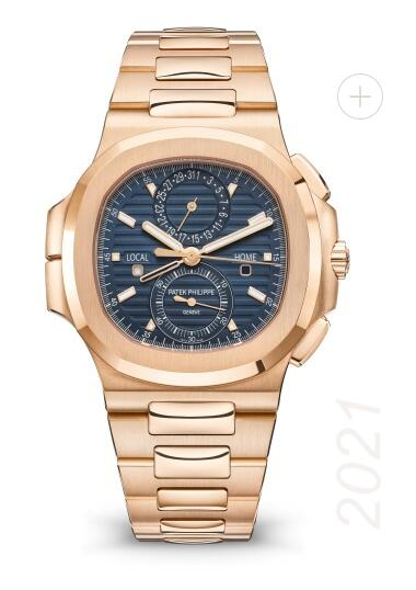 Patek Philippe Ref. 5990/1R Nautilus Travel Time Chronograph Watches Replica 5990/1R-001 Pink Gold